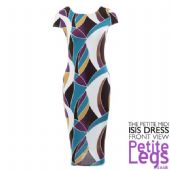 Isis Satin Feel Geometric Print Bodycon Midi Dress | UK Sizes 8-14